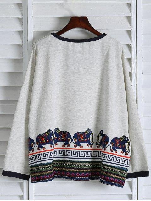 Imprimer ethnique épaule Drop Sweatshirt - Blanc TAILLE MOYENNE Mobile