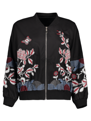 Puffed Sleeve Bomber Jacket - Black M