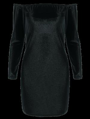 Off The Shoulder Long Sleeve Velvet Dress - Black S