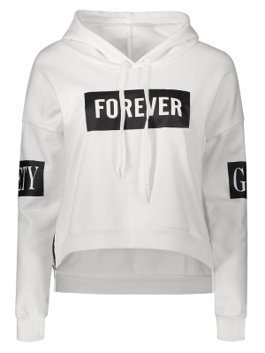 Side Zipper Graphic Patched Hoodie - White