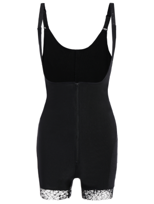 Straps Backless Zip Up Full Body Corset - Black 5xl