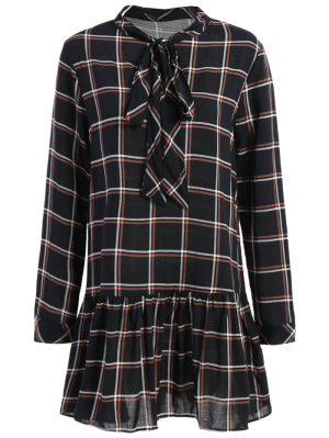 Bow Tie Collar Plaid Dress - Checked S