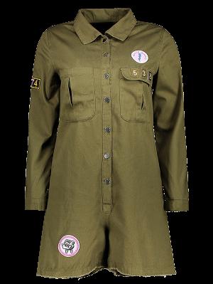 Imprimer Patchwork Shirt Manches Longues Col Romper - Vert Armée L