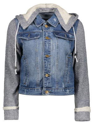 Hooded Denim Jacket - Blue+gray M