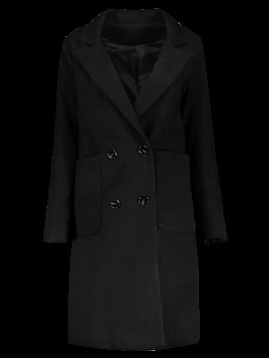 Double Breasted Wool Blend Midi Coat - Black M