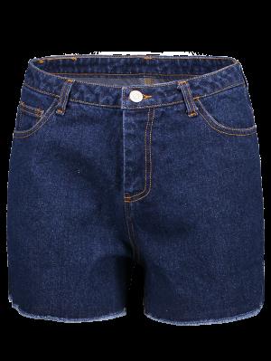 Pantalones Cortos Azul Profundo De La Alta Cintura Del Dril De Algodón - Marina De Guerra Xs