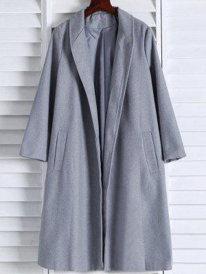 Manteau gris en laine mélangée à revers