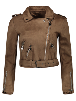 Lapel Zipper Pockets Suede Jacket - Khaki L