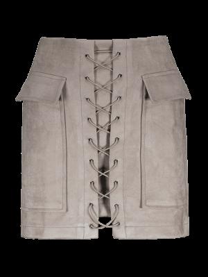 Ate para arriba gamuza sintética mini falda