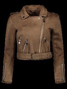 Lapel Zipper Pockets Suede Jacket - Khaki M