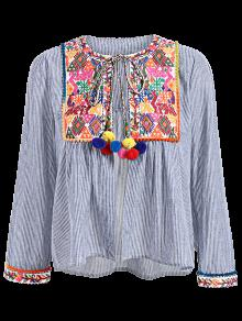 Ethnic Embroidery Round Neck Long Sleeves Blouse - S