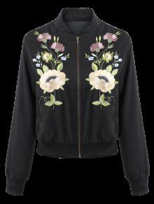 Chaqueta De Pie Cuello Bordado Floral - Negro S