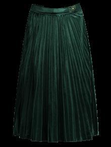 Velvet Pleated Midi Skirt - Green L