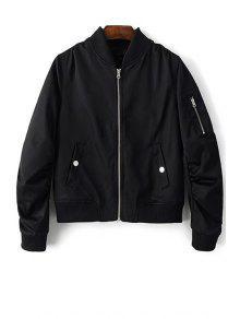 Zippered Sleeve Bomber Jacket - Black M