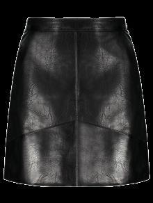 A Line PU Leather Mini Skirt BLACK: Skirts S   ZAFUL