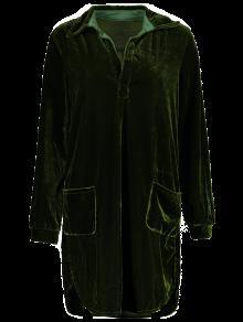 Terciopelo Camisero De Verde Ejercito Suelto L Vestido Oqw4E1q