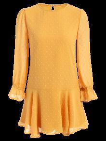 Dotted Round Neck Ruffles Shift Dress - Yellow M