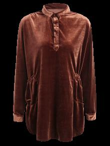 Mini Velvet Tunic Dress - Brown M