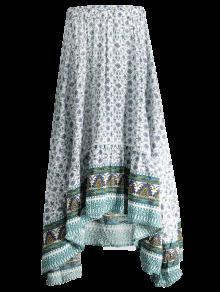 Patterned High Low Maxi Boho Skirt - White L
