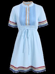 Bordado Vestido Plisado Delantero - Azul M