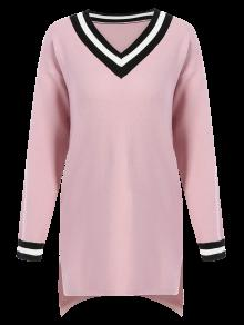 V-Neck Side Slit Sweater Dress PINK: Sweater Dresses ONE SIZE | ZAFUL