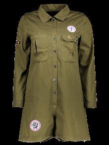 Remiendo De La Impresión Cuello De La Camisa De Manga Larga Romper - Verde Del Ejército M