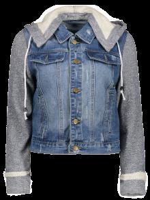 Hooded Denim Jacket - Blue+gray M