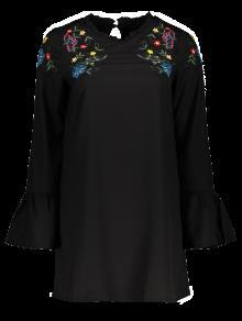 Frilled Embroidered Dress - Black L