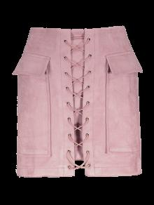 Lace Up Faux Suede Mini Skirt - Pink S