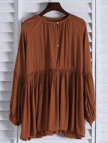 فستان لون الصلبة فضفاض ملائم طويلة الأكمام - البرتقالي M