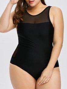زائد حجم شبكة إدراج راسيرباك قطعة واحدة ملابس السباحة - أسود 2xl