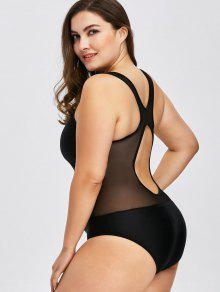 ababc25a2258e 25% OFF  2019 Plus Size Mesh Insert Racerback One Piece Swimwear In ...
