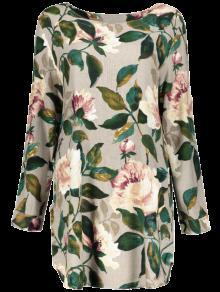 Vestido Manga Blusa Lino Floral Larga Floral pwOSpqar