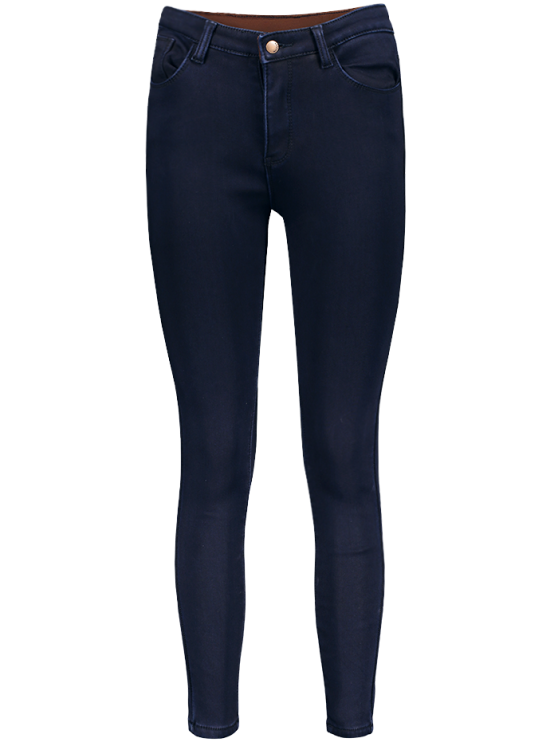womens Super Elastic Wool Blend Pencil Jeans - DEEP BLUE L