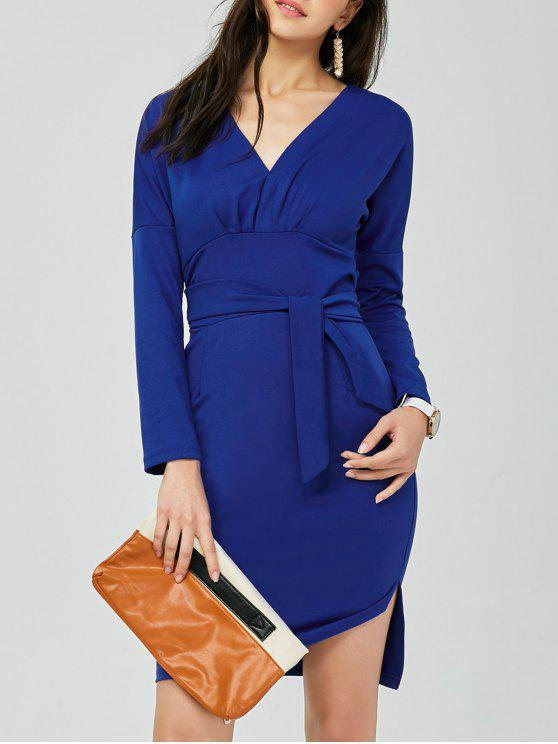 V فستان انقسام عارية الظهر رصاص الرقبة على شكل - أزرق مقاس واحد