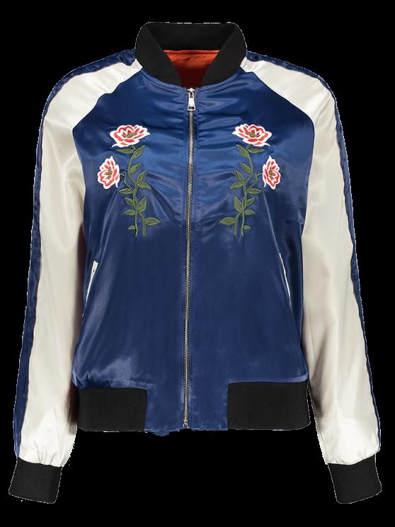 fashion Floral Letter Embroidered Bomber Jacket - BLUE L
