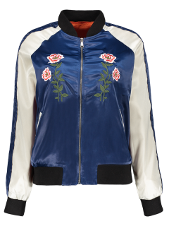 Floral Letter Embroidered Bomber Jacket - Blue S
