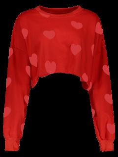 Impresión Del Corazón Sudadera Recortada - Rojo