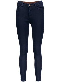 Super Elastic Wool Blend Pencil Jeans - Deep Blue L