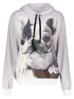 Front Pocket Cartoon Dog Print Hoodie - Light Gray S