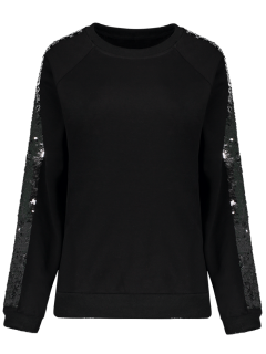 Sequins Raglan Sleeve Sweatshirt - Black S