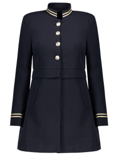 Single-Breasted Stand Neck Coat - Deep Blue S
