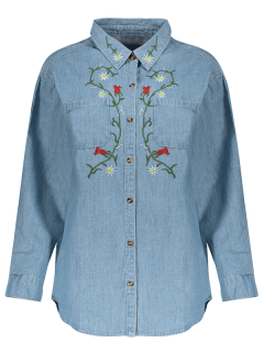 Flower Embroidered Pockets Chambray Shirt - Light Blue L