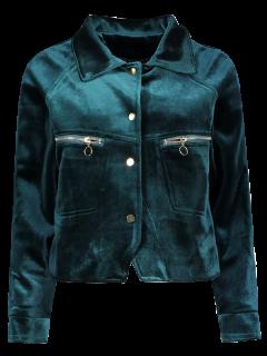 Graphic Embroidered Zipper Pocket Velvet Jacket - Blackish Green L