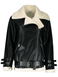 Lapel Faux Shearling Biker Jacket - Black S