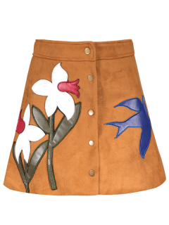 Leather Patch Floral Suede Skirt - Ginger S