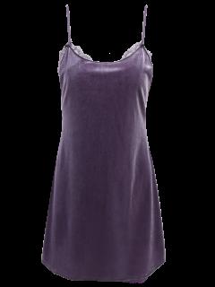 Velour Panel Mini Vestido De Encaje - Gris M