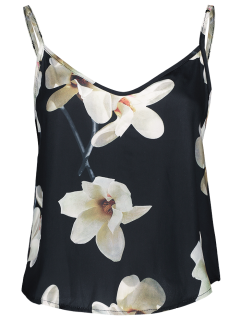 Adjusted Floral Satin Camisole - Black S