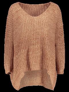 Space Dye Oversized Batwing Sweater - Khaki