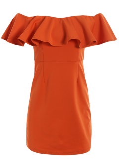 Off The Shoulder Ruffles Bodycon Dress - Orange Red S